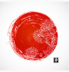 chrysanthemum flowers and red sun in oriental vector image