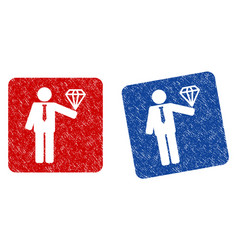 groom diamond grunge textured icon vector image vector image