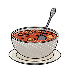 Hot soup bowl icon vector