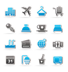 hotel motel and travel icons vector image vector image