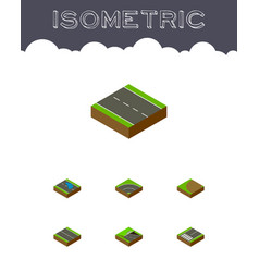 Isometric road set of underground turning vector