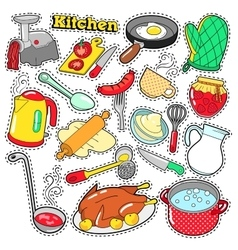 Kitchen Utensils Cooking Scrapbook Stickers vector image vector image