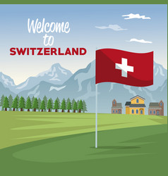 Mountain landscape valley poster of welcome of vector