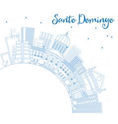 Outline santo domingo skyline with blue buildings vector