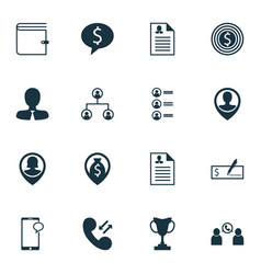 set of 16 management icons includes tournament vector image vector image