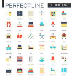 set of flat interior furniture icons vector image