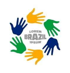 Six hand print logo using brazil flag colors vector