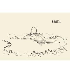 Sketch rio de janeiro skyline brazil vector