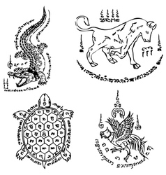 Thai Tattoo Ancient template vector image vector image