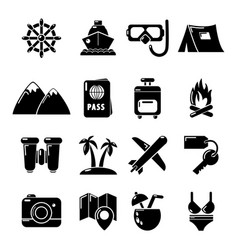 Travel summer icons set simple style vector