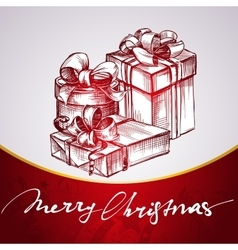 Christmas gift red background hand drawn vector