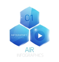 Glass hexagons infographics banner vector