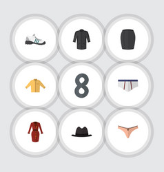 Flat clothes set of stylish apparel underclothes vector