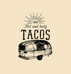 Vintage mexican food truck logo tacos icon vector
