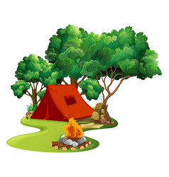 Scene with red tent in the woods vector
