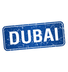 Dubai blue stamp isolated on white background vector