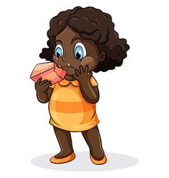 A fat black lady eating a cake vector