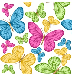 Seamless background bright colorful butterflie vector