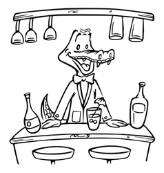 crocodile bartender outline vector image