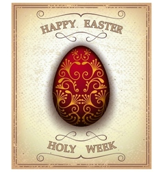 Vintage happy easter and holy week card vector