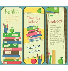 Vertical School and Book Banners or Bookmarks vector image