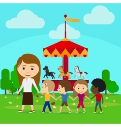 Teacher leads children in kindergarten vector