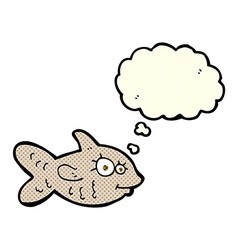 Cartoon happy goldfish with thought bubble vector