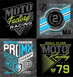 Motocross racing emblem graphic set vector