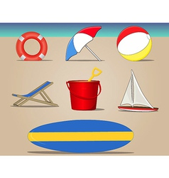 Beach day icons set vector