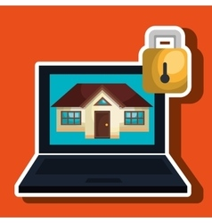 Smart home with laptop computer isolated icon vector