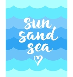 Summer card with hand drawn brush lettering sun vector