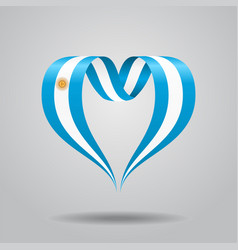argentinean flag heart-shaped ribbon vector image vector image