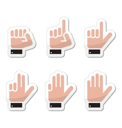 Counting hand signs as labels - isolated vector