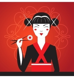 Cute smiling asian girl character on black kimono vector