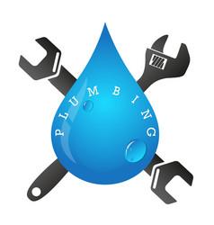 Drop and spanner of plumbing vector