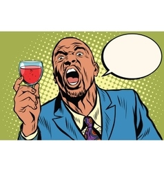 Emotional strong black man toast wine holiday vector image