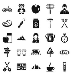 family barbecue icons set simple style vector image