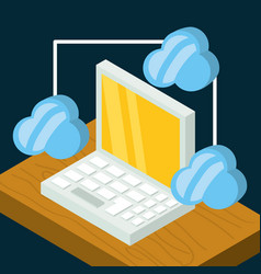 Isometric laptop connect with cloud security vector