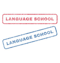 Language school textile stamps vector