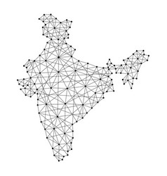 Map of india from polygonal black lines and dots vector