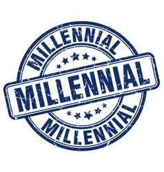 Millennial blue grunge stamp vector
