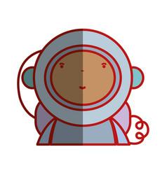 Nice astronaut with equipment to kawaii avatar vector