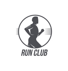 Run club logo template with side view jogging man vector