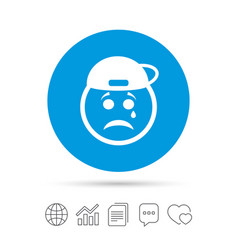 sad rapper face with tear icon crying symbol vector image vector image
