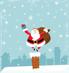 Santa On Chimney vector image
