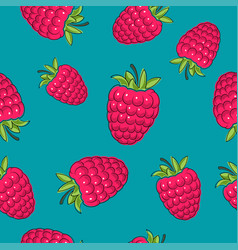 Seamless pattern raspberries on azure background vector
