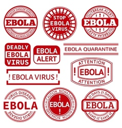 Set of red stamp with Ebola concept text on white vector image