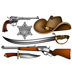 set of sheriff weapons and accessories vector image vector image