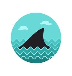 Shark fin icon summer vacation vector