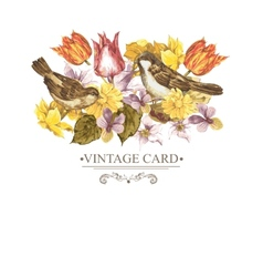 Spring Floral Retro Card with Bird Sparrows vector image